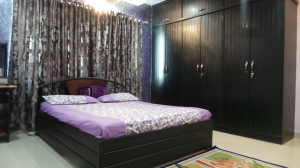 Customized Black Purple and Silver finished Bed Room