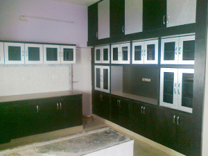 Silver and Black Kitchen with heavy storage