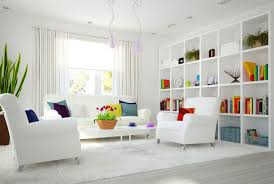 Idea9- Bright and white living room with pinches of rainbow colour